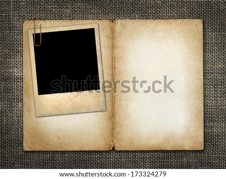 Card for invitation or congratulation with  old photo - stock photo