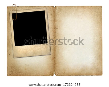 Card for invitation or congratulation with  old photo isolated on white background - stock photo