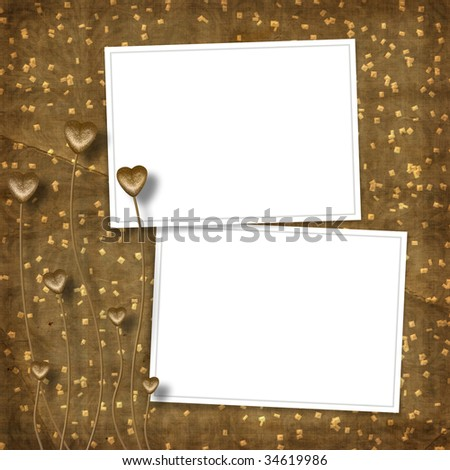 Card for photo with hearts on the abstract background - stock photo