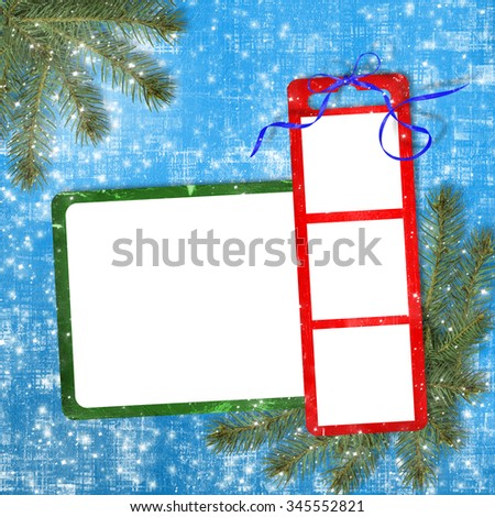 Card for photos on the bright background 