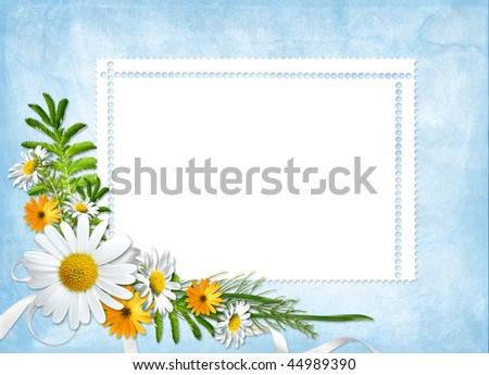 Card for the holiday  with flowers and ribbons on the abstract background