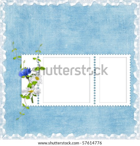 Card for the holiday  with flowers on the blue background