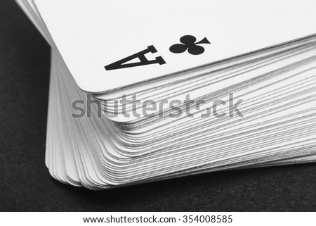 Card game with ace of clubs detail. Black and white. Horizontal - stock photo