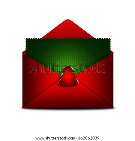 card in envelope with place for text isolated over white background - stock photo