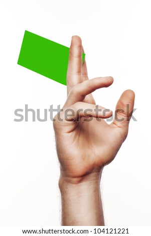 Card in format of credit card in hand on isolated background - stock photo