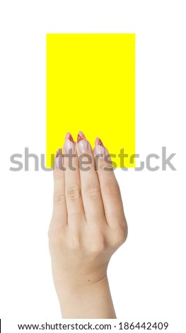 card in woman hand isolated on white