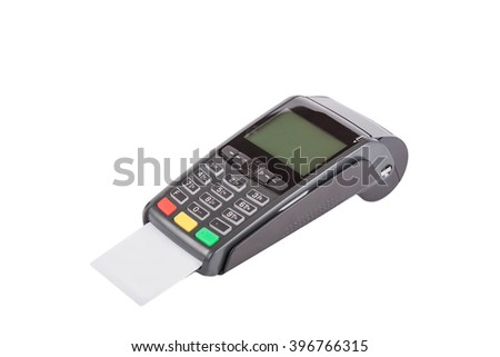 Card machine or pos terminal with inserted blank white credit card isolated on white background