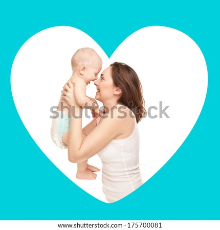 Card of happy mother with adorable baby in frame - stock photo