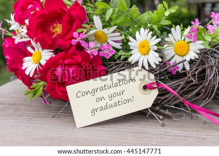 Card on passing examination with summer flowers / Congratulations on your Graduation / Graduation