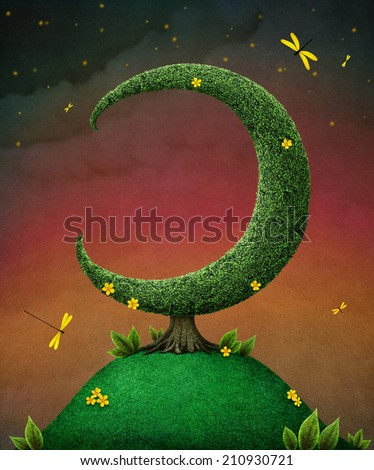 Card or illustration with  tree in the shape of moon - stock photo