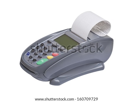 Card Reader, bank terminal isolated on white  - stock photo