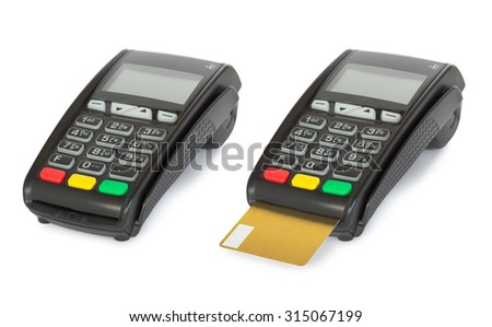 Card reader machine isolated on white background with shadow