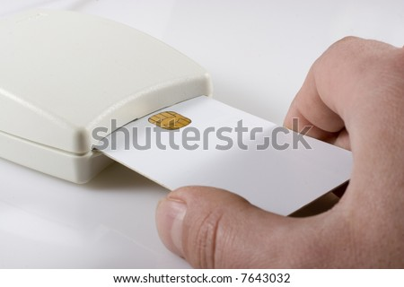 Card reader with white card - stock photo