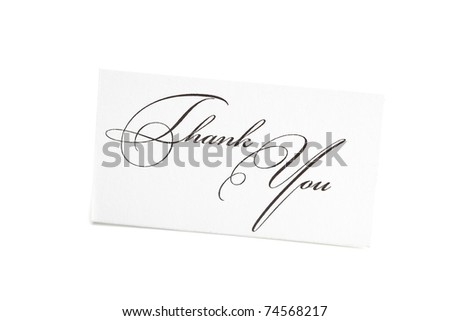 card signed thank you isolated on white - stock photo