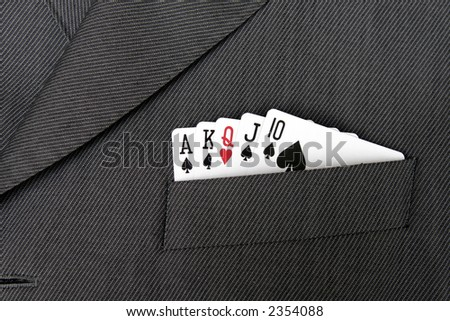 Card Suit - Flush, Gambling Cards In A Suit Jacket Pocket