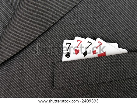 Card Suit - Lucky Seven, Four Seven Cards In A Suit Jacket Pocket