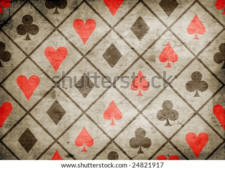 card suite icon on old paper background - stock photo