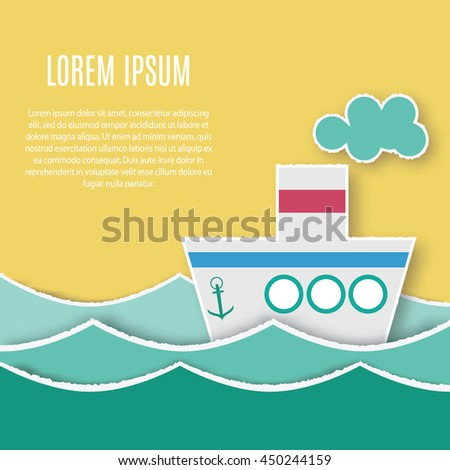 Card template with paper ship sailing in the sea waves with place for your text, logo, design and etc. Hand made application style