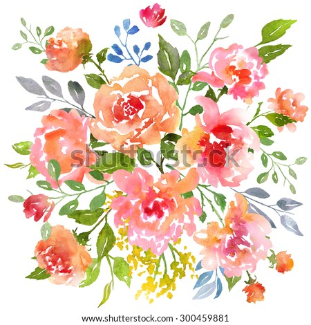 Card template with watercolor roses. Raster illustration. Clipping path included.  Illustration for greeting cards, invitations, and other printing projects. - stock photo