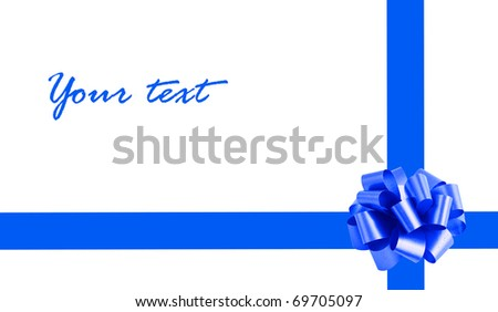 card with a blue  ribbon and bow on a white background - stock photo