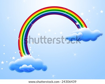 Card with beautiful rainbow in clouds