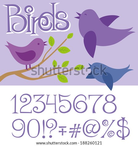 card with birds and alphabet letters - stock photo