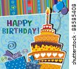 card with birthday cake. Illustration - stock photo
