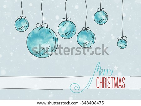card with Christmas balls - stock photo