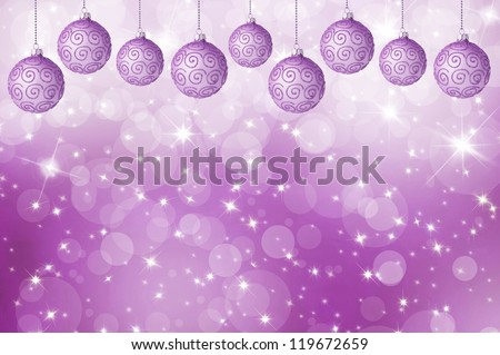 card with Christmas balls. bokeh background
