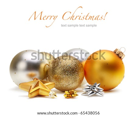 card with Christmas balls isolated - stock photo