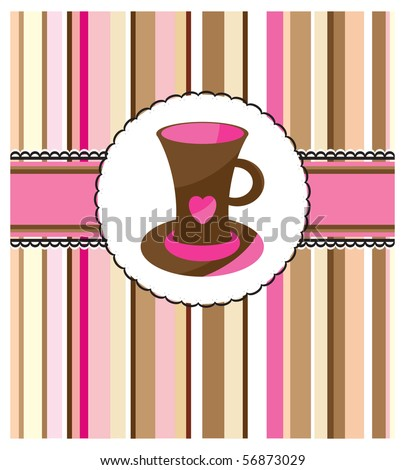 Card with cup - stock photo