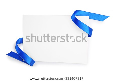 Card with dark blue satin ribbon isolated on white - stock photo