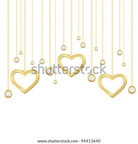 Card with golden heart and brilliants on a white background - stock photo