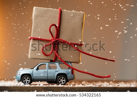 Card with machine carrying gift