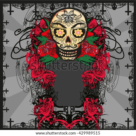 card with mexican skull  - stock photo