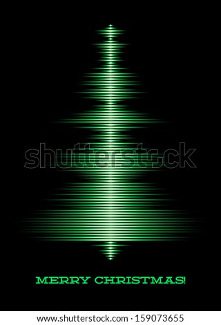 Card with music waveform as christmas tree - stock photo