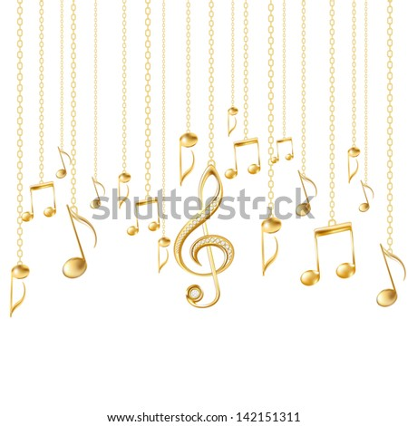 Card with musical notes and golden treble clef on a white background. - stock photo