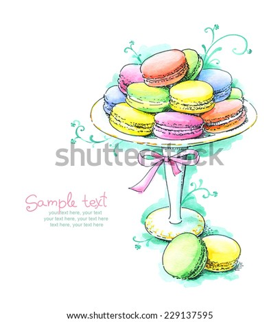 card with painted watercolor french dessert macaroons on cake stand - stock photo
