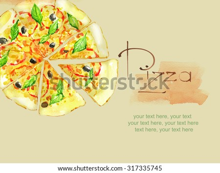 card with painted watercolor pizza - stock photo
