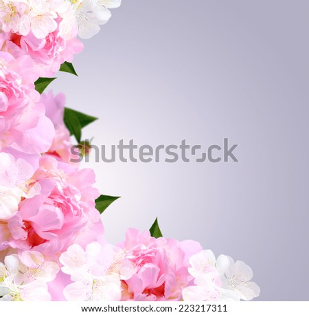 Card with peony, white flowers on gray background