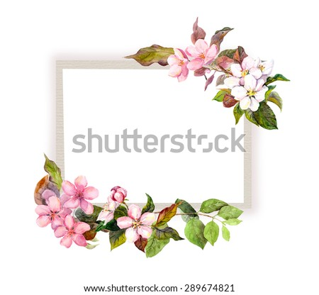 Card with pink flowers. Watercolor frame - stock photo