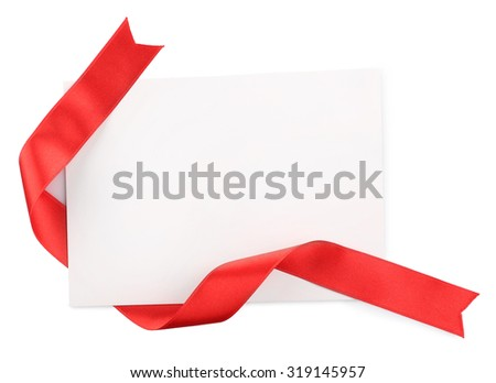 Card red ribbon isolated on white stock photo 319145957 shutterstock card with red ribbon isolated on white stopboris Choice Image