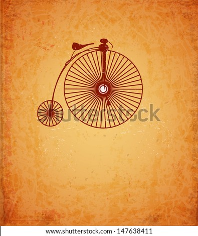 Card with retro bicycle on vintage background. Raster version. - stock photo