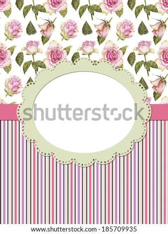 Card with roses and frame on striped background