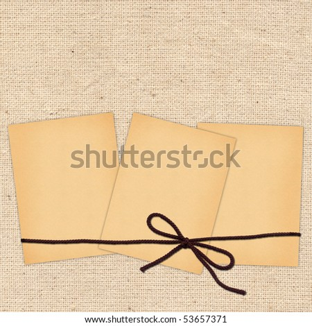 card with sheets and rope for design