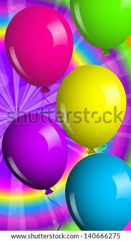 Card with shiny balloons - stock photo