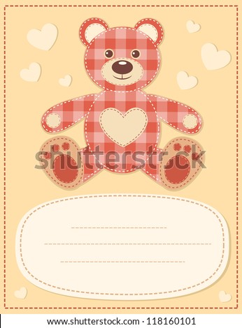 Card with the teddy bear for baby shower.