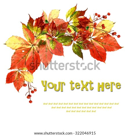 card with watercolor vine leaves and berries - stock photo