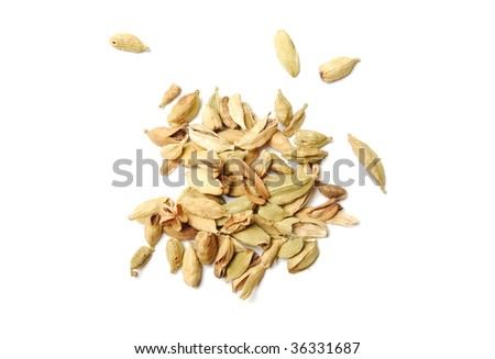 Cardamom seeds, are isolated on a white background