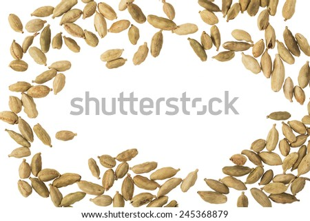 Cardamom seeds isolated on white with copy space in center of frame - stock photo